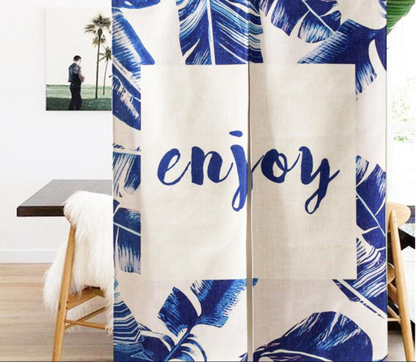 Wholesale 85*120cm Banana Leaves Enjoy Quotes Door Curtain Cotton Linen Pantry Curtain New Year Festival Wedding Children Kids Room Decor