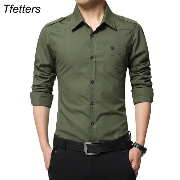 TFETTERS Camisa de Hombre Epaulette Camisa de Manga Larga de Epaulet de Moda Estilo 100% Algodón Camisas de Ejército Verde con charreteras