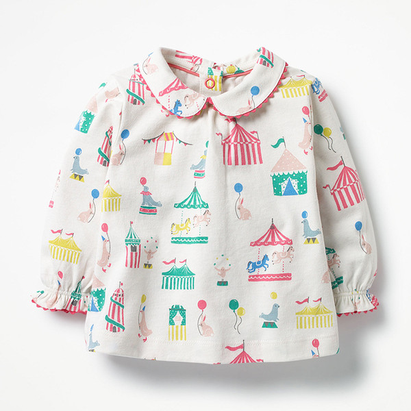 Baby Long Sleeve Shirts Cute Doll Collar Cotton Baby Girl Clothes Brand New Spring Printing T Shirts for Girls 18080403