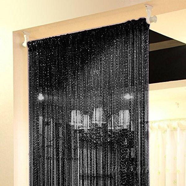 Silver Ribbon Door String Curtain Thread Fringe Window Panel Room Divider Cute Strip Tassel Party Events Black