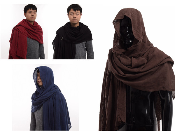 best selling Vintage Medieval Scarf Post Apocalyptic shaman elven ranger Shawl Men Cotton Brown Wrap Cloak Fast Shipment New