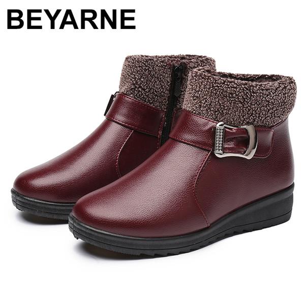 venta al por mayor botas de tobillo de las mujeres de invierno moda cuero de la PU ocasionales cómodas botas de nieve de la madre de la abuela zapatos de algodón antideslizante de la abuela