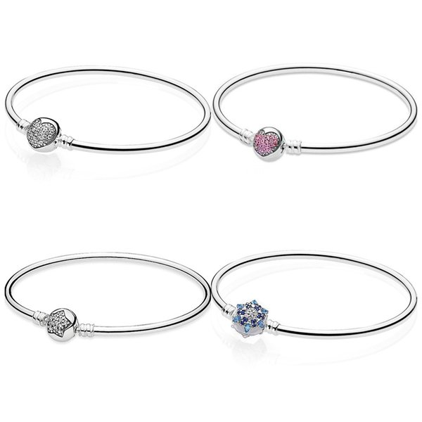 Crystalized Snowflake Love Heart & Star Clasp Smooth Bangle Fit Snake Bracelet 925 Sterling Silver Bead Charm Jewelry