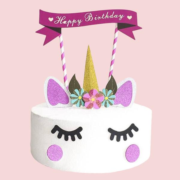 1set Handmade Pink Unicorn Party Cupcake Decoration Happy Birthday Party Flag Baby Children Decor Cake Decor