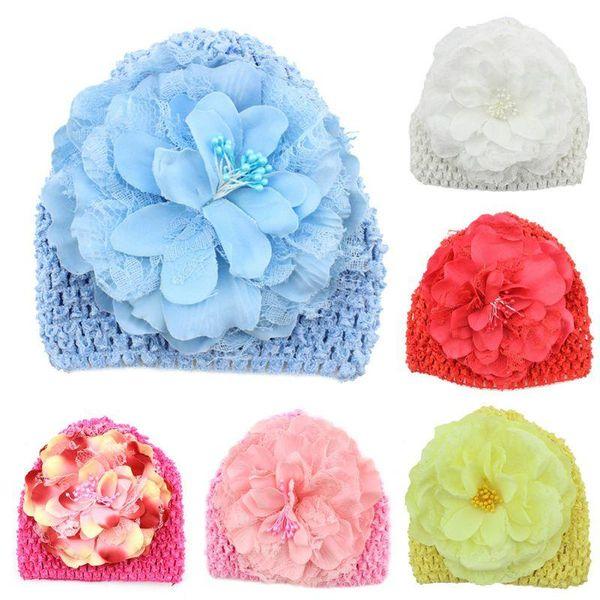 Hand Crochet Knit Cap Kids Girls Winter Warm Baby Toddler Beanie Hat Flower