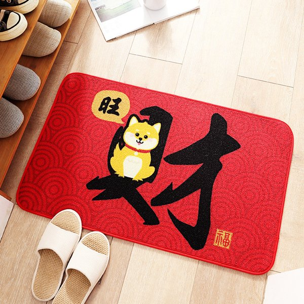 Lucky Cat and Wealth Dog Printed Floor Mat Non-slip Cartoon Bedroom Living Room Carpet Home Decoration Red Porch Doormat Blanket