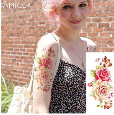 Sexy romântico rosa escuro flores Tatuagem manga flash henna tatuagens falso tatuagens temporárias À Prova D 'Água adesivos tatuagens traduzidas