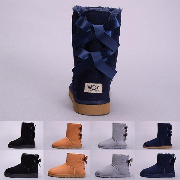 WGG Kış Kadın Çizmeler Avustralya Klasik Diz Çökmüş Ayak Bileği Çizme Siyah Gri Kestane Lacivert Kırmızı Kız Lady Tall Açık Kar Ayakkabı Boyutu 5-10