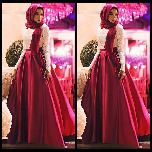 White Red Muslim Prom Dresses 2018 Fashion Long Sleeves Hijab Evening Gowns Lace Satin Floor Length Plus Size Saudi Arabic Party Dresses