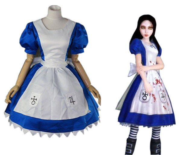 New Alice Madness Retorna Alice unfrom cosplay vestido de festa traje Frete grátis