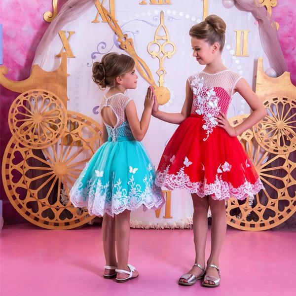 Прекрасные Кружева Аппликации Мини Маленькие Девочки Театрализованное Платья Jewel Декольте Короткие Пром Цветок Девушка Платье Дети Партии Свадебное Платье