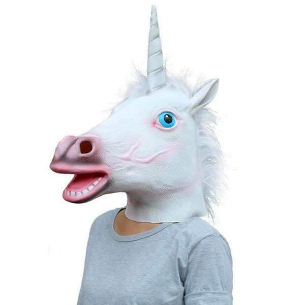 Cadılar bayramı Büyülü Ürpertici Yetişkin Unicorn Maske Beyaz Kafa Lateks Kauçuk Maske Hayvan Unicorn Parti Tiyatro Cosplay Için P ...