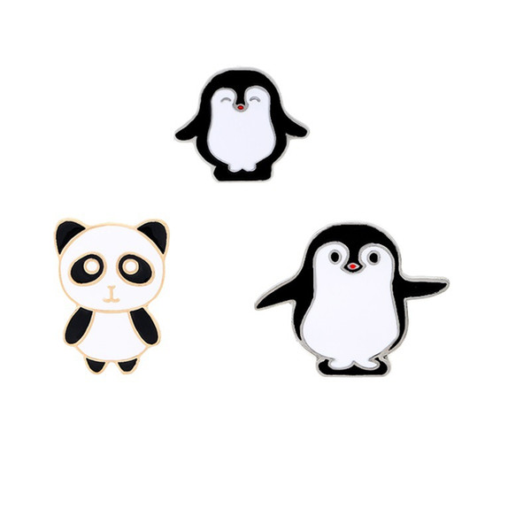 Cartoon Panda Penguin Metal Brooches Brooch Pins Badge Fashion Jewelry Business Suit Handbags Accessories Gift