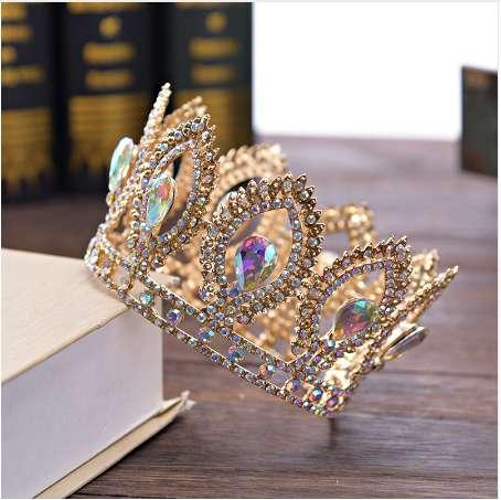 DIEZI Small Size Luxury Baroque Gold Crystal Flower Crown Tiaras For Women AB Rhinestone Girls Tiaras Bride Wedding Hair Jewelry