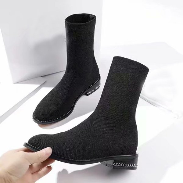 [Original Box] Luxury Tops Womens Winter Sock-like Half Knee Boots Chain Bottoms Motorcycle Knight Shoes Black Size 35-40