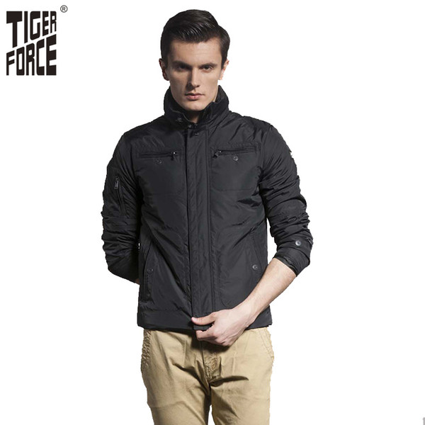 TIGER FORCE 2017 New Design Men Fashion Padded Jacket Casual Coon Padding Coat Short Thin Solid Zipper Free Shipping 5580