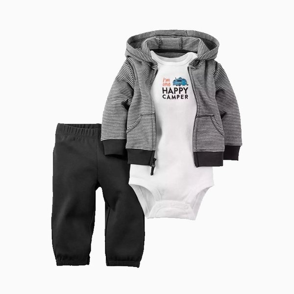 3pcs/lot Newborn baby boys girls outfits Cute cotton hooded coat+trousers+romper set for baby suit infant clothes outfit