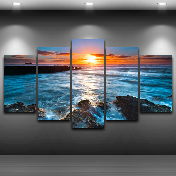 Sea Sunset Spray Oil Painting Decoration for Home Artistic Print Drawing Decor on Canvas Framed Printed wall art picture AE1182
