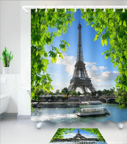 Riverside tower 3D pattern Print Custom Waterproof Bathroom Modern Shower Curtain Polyester Fabric Bathroom Curtain Door mat sets