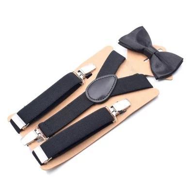 Mode 2,5 cm breit einfarbig Hosenträger für Kind junge Mädchen 3 Clip Hosenträger Fliege Set Anzug Baby einstellbar Geschenk