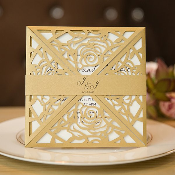 10 Kit Design Name Band Gold Laser Cut Invitaitons Cards For Wedding Print Party Birthday Rose