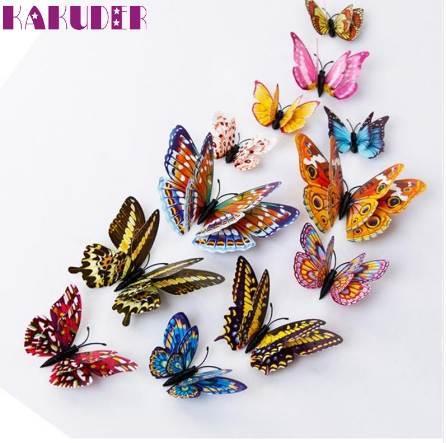 Kakuder vinilos decorativos para 12pcs 3D Wall Stickers Double Layer Luminous Butterflies Colorful Home decor #10 Gift Drop