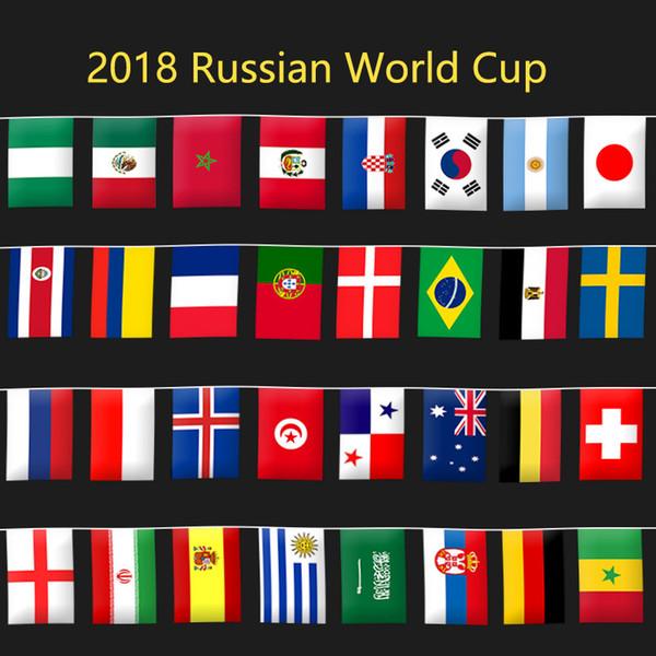 Coupe du Monde Ficelle Drapeau 2018 Coupe du Monde Football 32 Équipe Drapeau National Pays Bannière Bruant Pour Club Bar Chaîne Drapeau