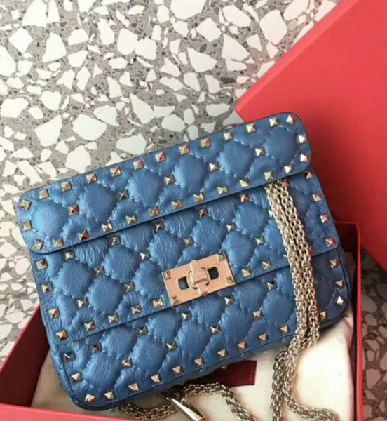 New genuine leather fashion handbag diamond lattice metallic black very special cow leather print full starts evening small blue bag OL 20cm