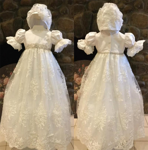 Cute Ivory White First Communion Dresses Puff Sleeve Custom Made Lace Applique Beads Belt Jewel Neck Hat A Line Pageant Gowns