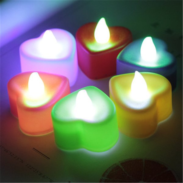 LED Heart Light shape Electronic Candle Light Wedding Party Decoration Candles Romantic Proposal Exquisite Q0640