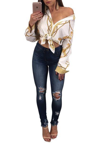 Camicie con camicette stampate Fashion Europe Camicie con scollo a V Sexy Camicie a maniche lunghe Autunno Estate Bianco Nero S-XL
