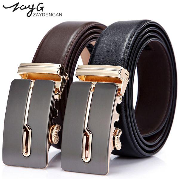 ZAYG hombres oro hebilla automática correa de cuero marrón cinturones para  hombres auténticos cinturones tendencia hombres ba06719163ce