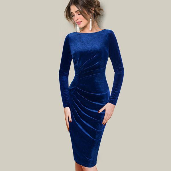 Compre Tallas Grandes Otoño Invierno Vestido De Mujer Terciopelo Elegante Con Pliegues Vestidos De Drapeado Vestido Casual Sexy Vestidos A 2878 Del