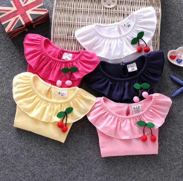 Kids T-shirt girls falbala lapel long sleeve T-shirt children cherry brooch princess tops fit 1-6 year kids cotton bottoming shirt F151