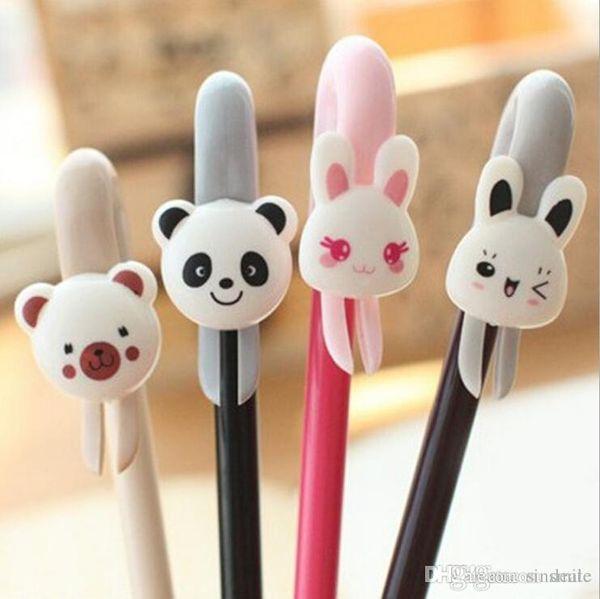 Wholesale-1 piece Korea Stationery Cute Cartoon Animals Panda/Rabbit/Bear Super Vision Gel Ink Pen