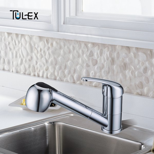 TULEX Kitchen Mixer Faucet Crane Sink Mixer 1 Set Polished Chrome Single Handle Pull Down Swivel Spout Tap Hot And Cold Water