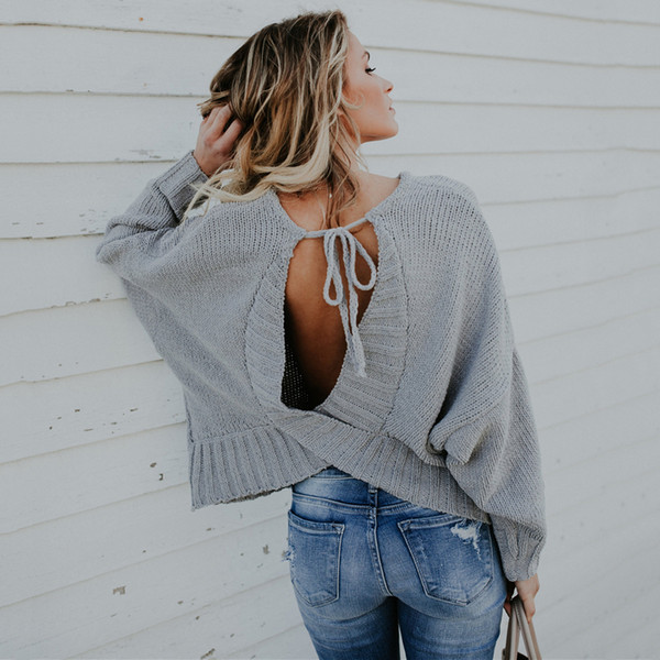 Backless Sweater Top Knitted Romper Women Pullovers and Sweaters Autumn Long Sleeve Street Pullovers Pull Femme Hiver Short FS5734