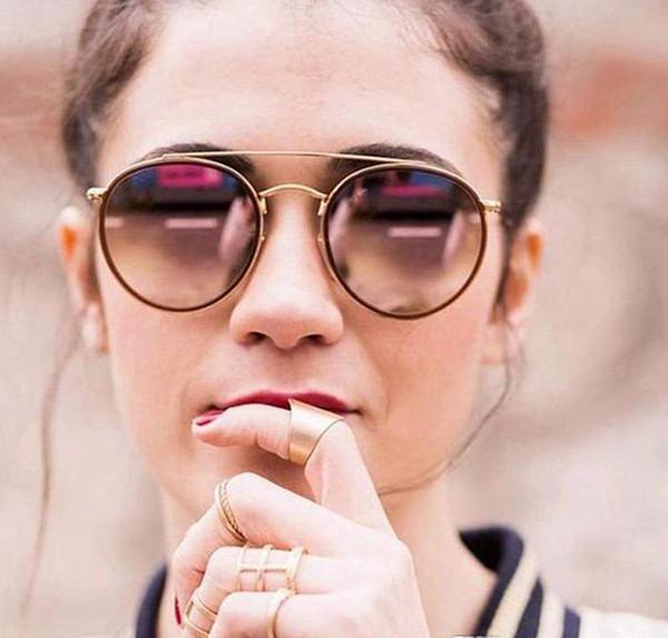 Yüksek Kalite Yuvarlak Stil Güneş Gözlüğü Alaşım PU çerçeve Aynalı cam lens Erkekler kadınlar için çift Köprü ile Retro Gözlük paketi 3647