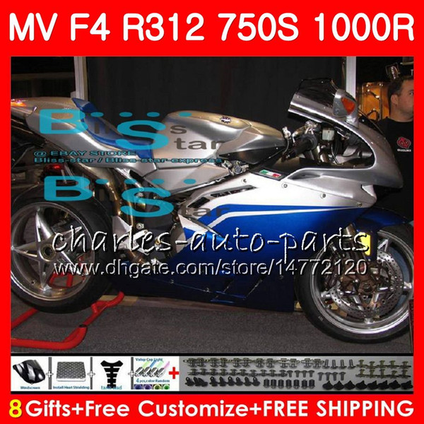 Bodywork For MV Agusta F4 S 1000R 312 1078 1+1 750 1000CC silvery blue 05 06 102HM55 750 R312 750S 1000 R MA MV F4 2005 2006 05 06 Fairing