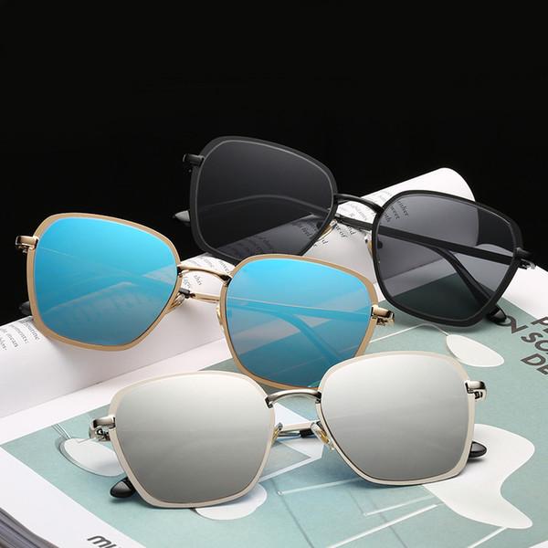 HJYBBSN Glasses Women Sunglasses Tinted Color Lens Men Vintage MultiColor Gradient Mirror Lens Goggles Designer Sunglasses
