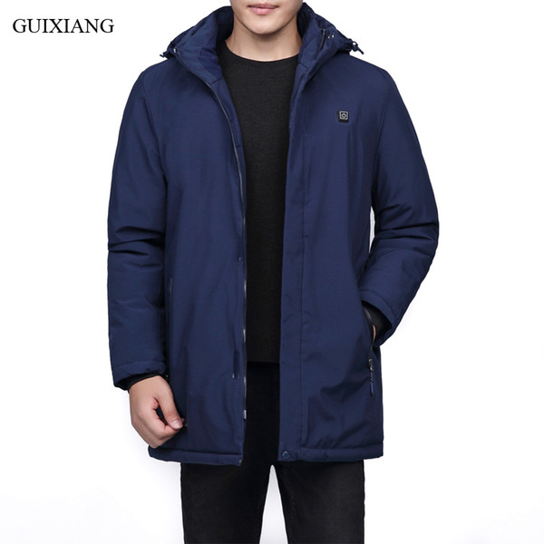 2018 New Arrival Style Men Boutique Leisure Cotton Padded Clothes Business Casual Detachable Hat Men's Thick Warm Trench L-8XL