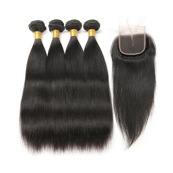 Peruvian Virgin Human Hair 4 Bundles With (4x 4) Lace Closure Straight Wave Weft 100% Real Human Hair Extensions Natural Color Free Shipping