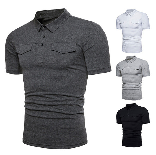Mens Solid  Shirt Slim Fit Short Sleeve  Summer Casual Basic T Shirt 4 Colors Shirts with Pockets