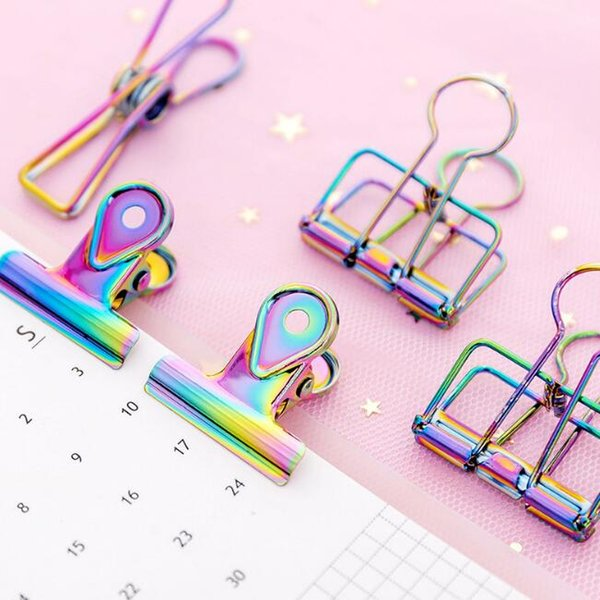 laser metal paper clips DIY bookmark photo holders binder clips notes letter paper clips stationery school office supplies