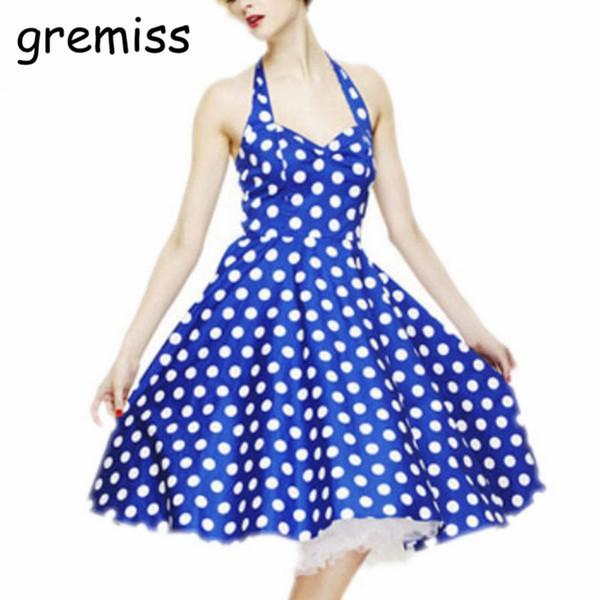 Gremiss Women Summer Casual Dresses Crew Neck Sleeveless Backless Dresses Ball Gown Polka Dot Pattern Dress