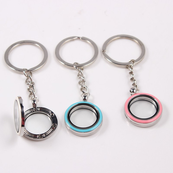 Magnetic 25mm Enamel Floating Locket Key chain Mix Colors Alloy Floating Locket Keychain Keyring 10PCS