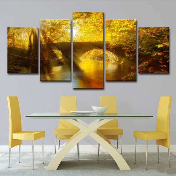 Canvas Painting Modern Art Live Wall 5 Pieces Sun Shining Bridge Autumn Landscape Decoration Pictures Landscape Painting
