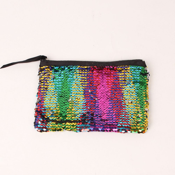 Fashion cosmetic bag double-sided sequins hand bag women fashion evening party change pocket lady girls Dinner Bag