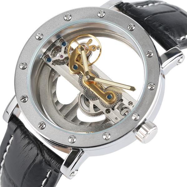 Luxe Creux Automatique Mécanique Hommes De Mode Noir En Cuir Montres Poignets Transparent Squelette Affaires Casual Self Wind Horloge