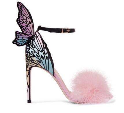 Pink Feather Stiletto Heels Women Pumps Butterfly Wings Bridal Wedding Shoes Ankle Buckle Strap High Heels Sandals